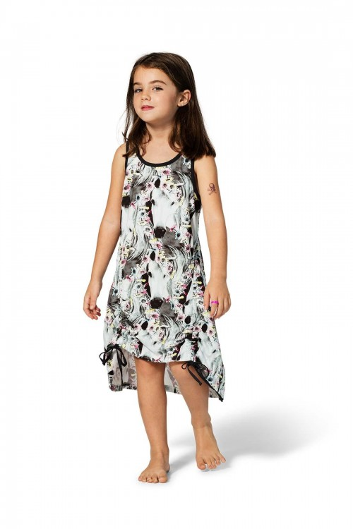 Drawstring Singlet Dress / Daisy Horse Repeat